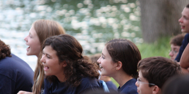 Campers share a laugh together.